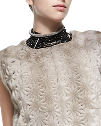 Perforated Flower Mink Fur Top, Layered Silk Crepe Tank, Choker & Elongated ...