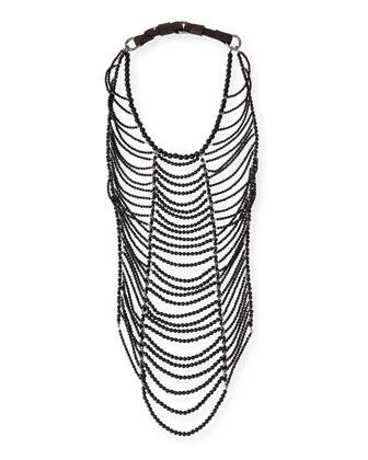 Shimmer Tulle Contrast-Trimmed Top, Black Agate Tribal Necklace & Moto Knee ...