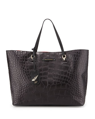 Voyage Croc-Embossed Ready to Go Tote Bag, Black`