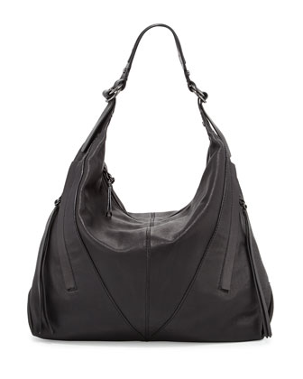 Mickey Medium Leather Hobo Bag, Black