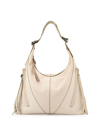 Mickey Cutwork-Strap Hobo Bag, Creme
