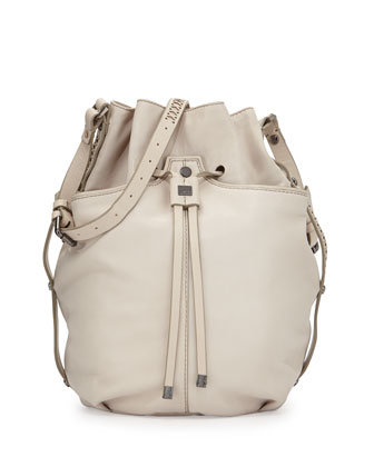 Frankie Drawstring Bucket Bag, Creme