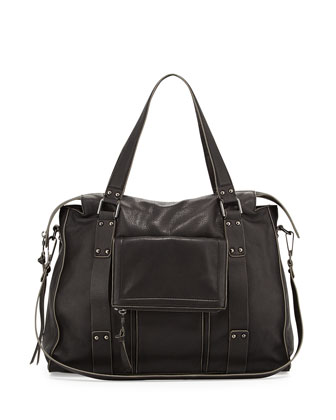 Rhodes Grained Leather Satchel Bag, Black