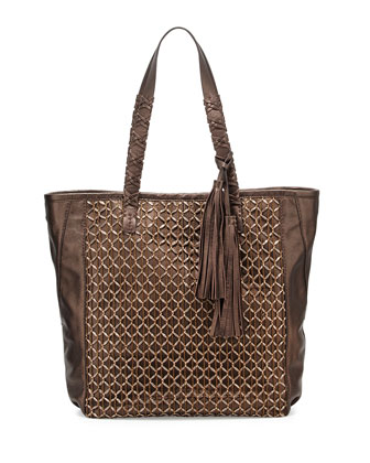 Camino Metallic Leather Tote Bag, Bronze