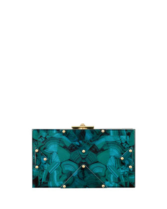 Alicia Lucite Clutch Bag, Malachite