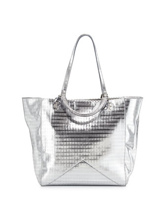 Joey Metallic Leather Tote Bag, Silver Screen