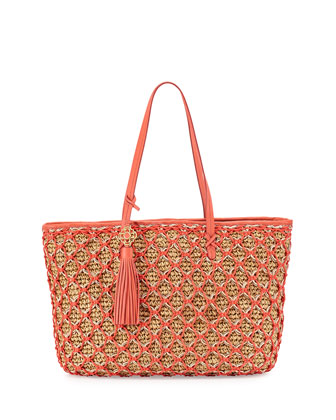 Sam Straw Large Tote Bag, Coral Reef