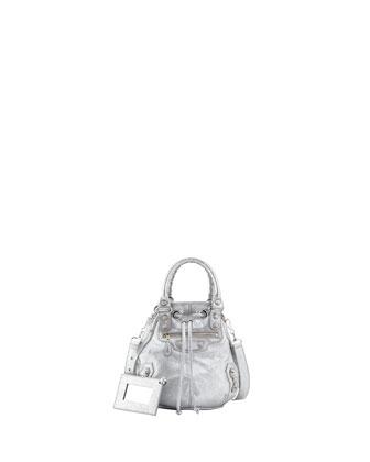 Classic Mini Pompon Bag, Gris Aluminum