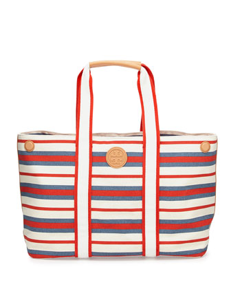 Printed Canvas East-West Tote, Comet/Red