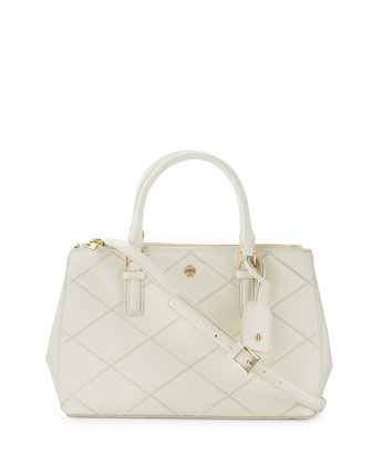Robinson Stitched Mini Double Satchel Bag, New Ivory