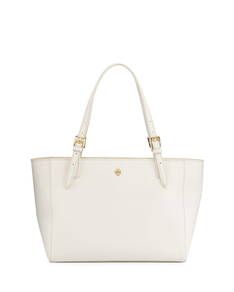 York Small Saffiano Tote Bag, New Ivory