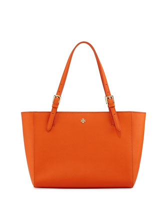 York Small Saffiano Tote Bag, Mandarin Orange