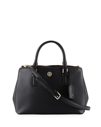 Robinson Mini Double Saffiano Satchel Bag, Black