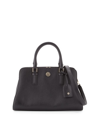Robinson Curved Satchel Bag, Black