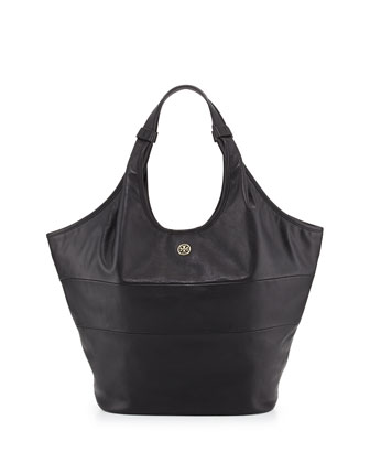 Slouchy Paneled Medium Hobo Bag, Black