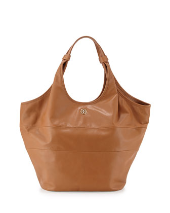 Slouchy Leather Hobo Bag, Bark