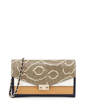 Colorblock T-Lock Clutch Bag, Navy/Tan/White