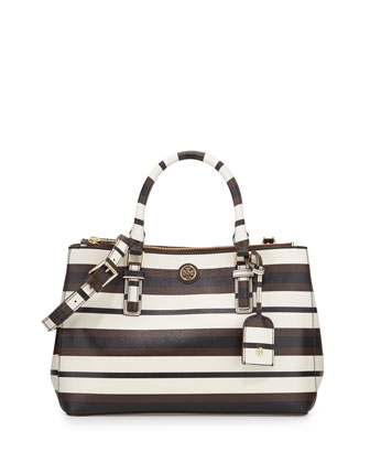 Robinson Mini Double-Zip Tote Bag, Raisin/Navy/Ivory