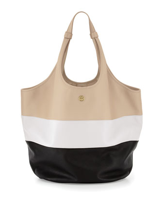 Medium Slouchy Hobo Bag, Wheat/Ivory/Black