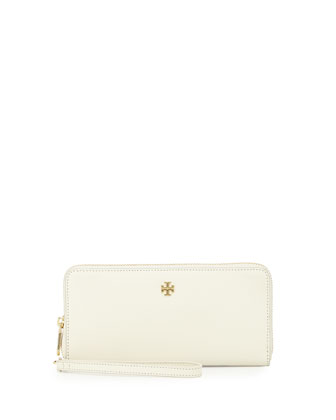 York Zip-Around Passport Continental Wallet, New Ivory