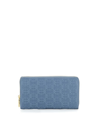 Logo-Embossed Continental Zip Wallet, Comet