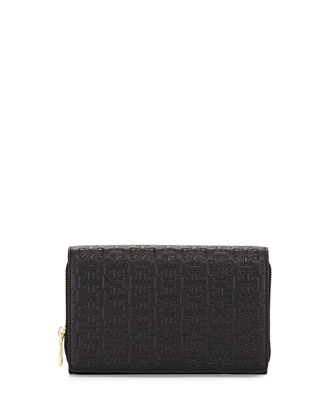 Embossed-T Wallet Crossbody Bag, Black