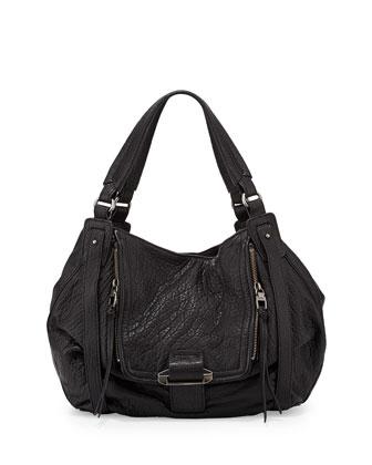 Jonnie Bubble-Leather Hobo Bag, Black