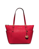 Jet Set Top-Zip Saffiano Tote Bag, Chili