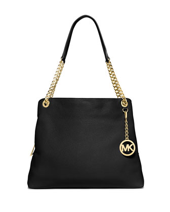 Jet Set Large Chain Shoulder Tote Bag, Black