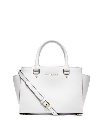 Selma Medium Top-Zip Satchel Bag, Optic White