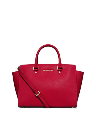 Selma Large Saffiano Satchel Bag, Chili
