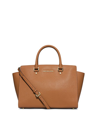 Selma Large Saffiano Satchel Bag, Peanut