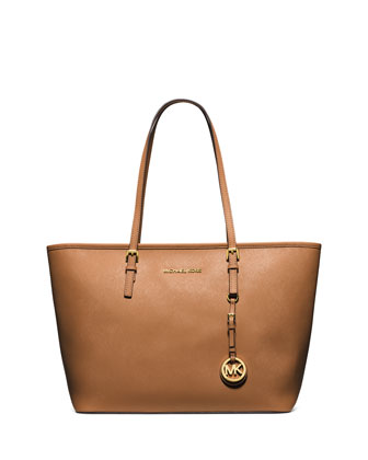 Jet Set Saffiano Travel Tote Bag, Peanut