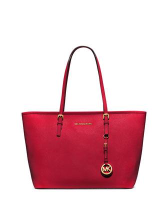 Jet Set Saffiano Travel Tote Bag, Chili