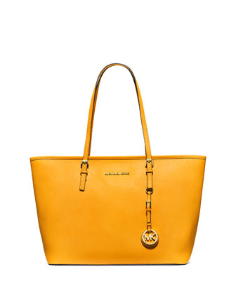 Jet Set Saffiano Travel Tote Bag, Sun
