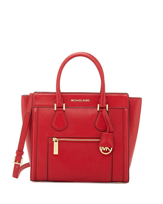 Colette Large Zip-Top Satchel, Chili
