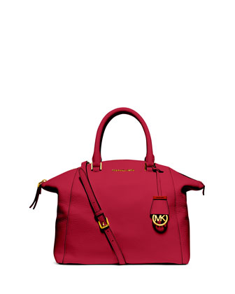 Riley Large Pebbled Leather Satchel Bag, Chili