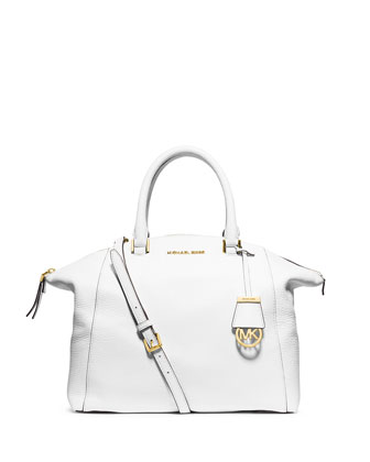 Riley Large Pebbled Leather Satchel Bag, Optic White