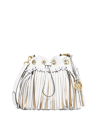Christy Medium Drawstring Messenger Bag, Optic White/Gold