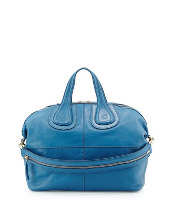 Nightingale Medium Leather Satchel Bag, Blue