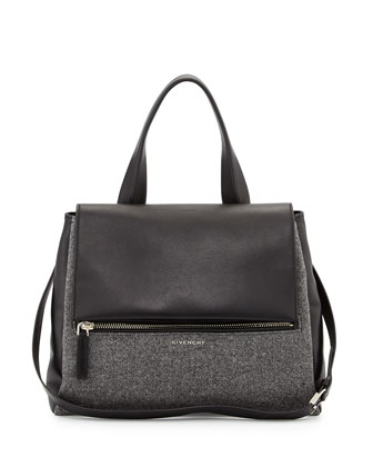 Pandora Medium Flap-Top Satchel Bag, Dark Gray