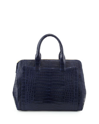 Large Modern Double-Zip Crocodile Tote Bag