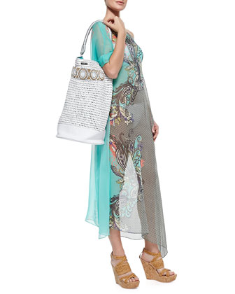 Mixed-Print Sheer Chiffon Coverup & Raffia Beach Bag