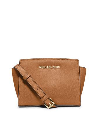 Selma Mini Saffiano Messenger Bag, Peanut