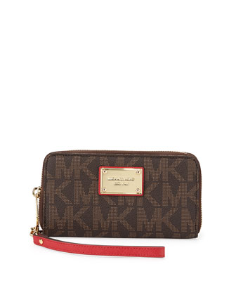 Jet Set Signature PVC Wristlet, Brown/Chili