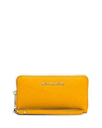 Jet Set Travel Saffiano Wristlet Wallet, Sun