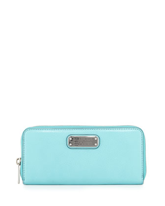 New Q Slim Zip-Around Wallet, Aqua