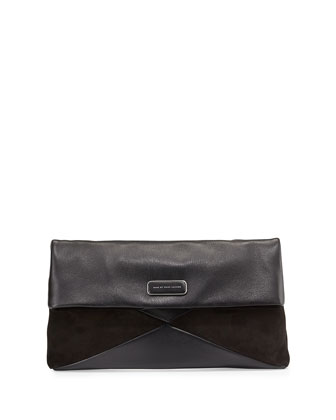 Hvac Leather and Suede Flap Clutch Bag, Black