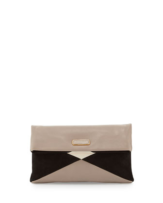 Hvac Colorblocked Clutch Bag, Taupe/Grey/Multi