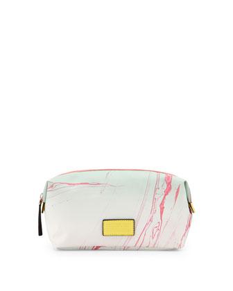 Domo Arigato Large Landscape Cosmetic Case, Mint/Pink